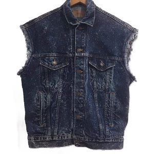 Vtg Levi's Frayed & Distressed Blue Jean Vest